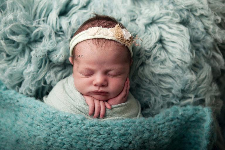 newborn portrait blue flokati
