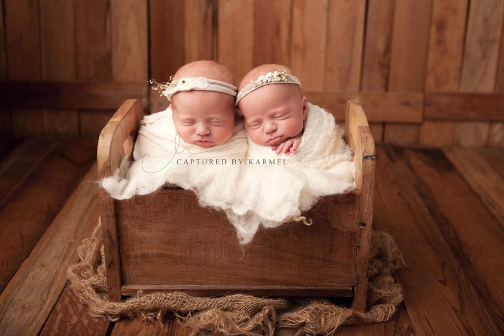 twins posed in original photoblocks bed